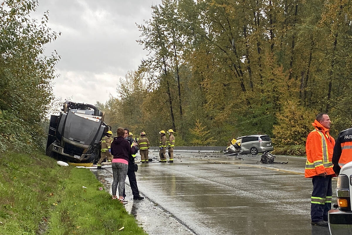 The collision took place between a van and a black semi on Wednesday afternoon. (Colleen Flanagan/The News)
