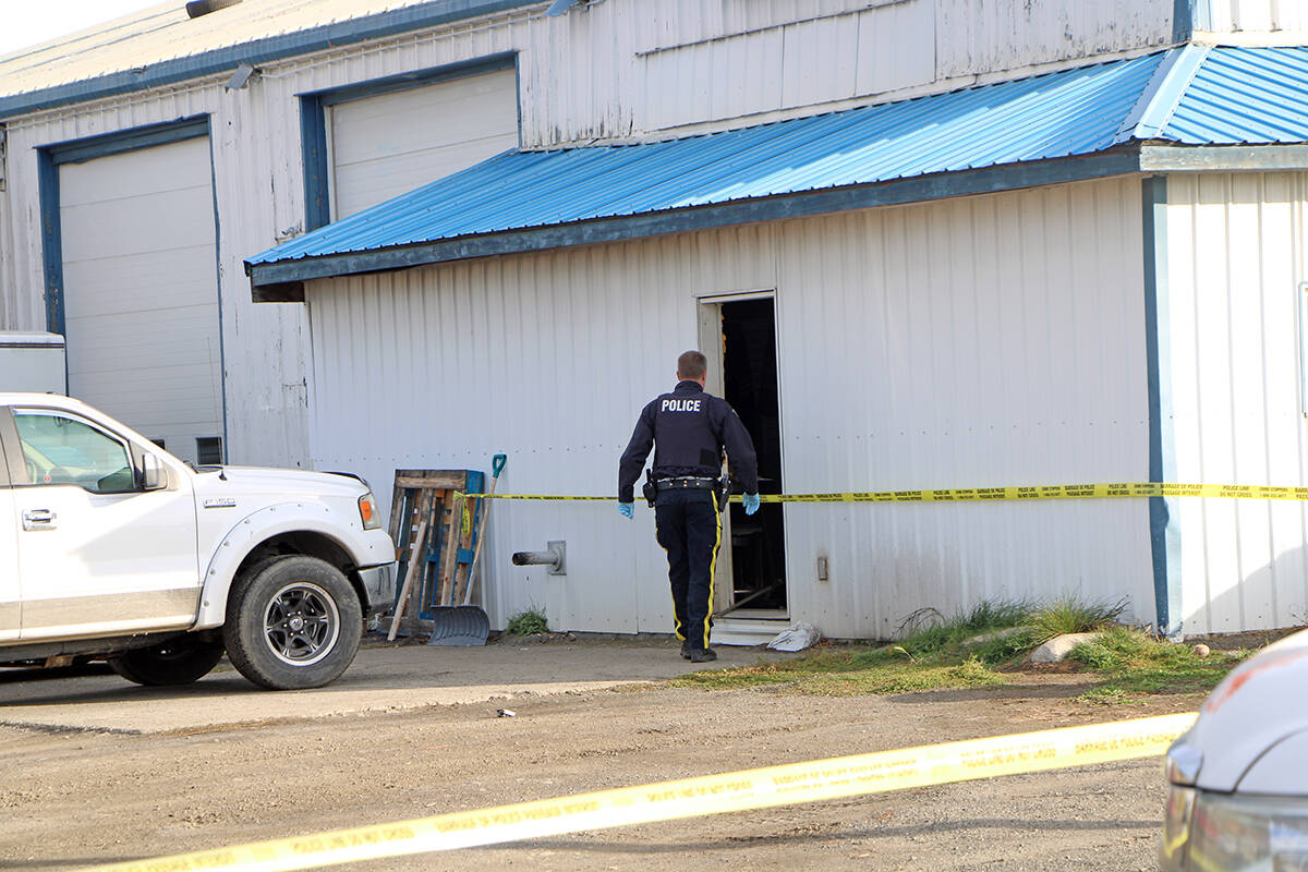 100 Mile House RCMP and members of the North District Major Crime Unit are investigating a homicide on Exeter Station Road on Wednesday, Oct. 20. (Patrick Davies photo - 100 Mile Free Press)