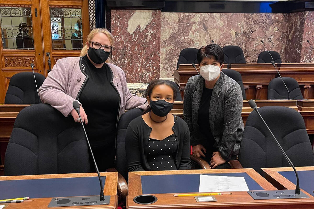 Left to right, Chilliwack-Kent MLA Kelli Paddon, Eevah Macdonald, and Vancouver-Kensington MLA Mable Elmore inside the Legislature in Victoria on Oct. 21, 2021. (Submitted)