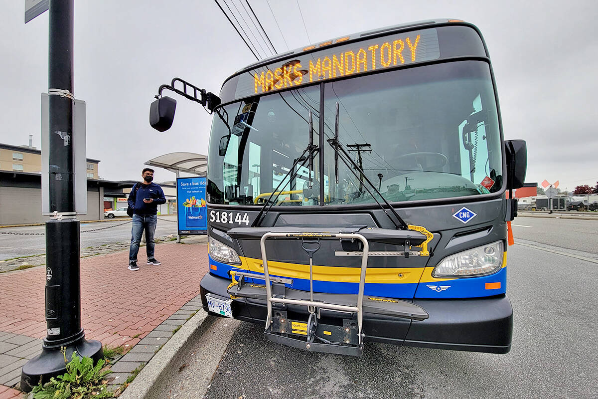 TransLink indicates it is a must to mask-up on the buses. (Dan Ferguson/Langley Advance Times)