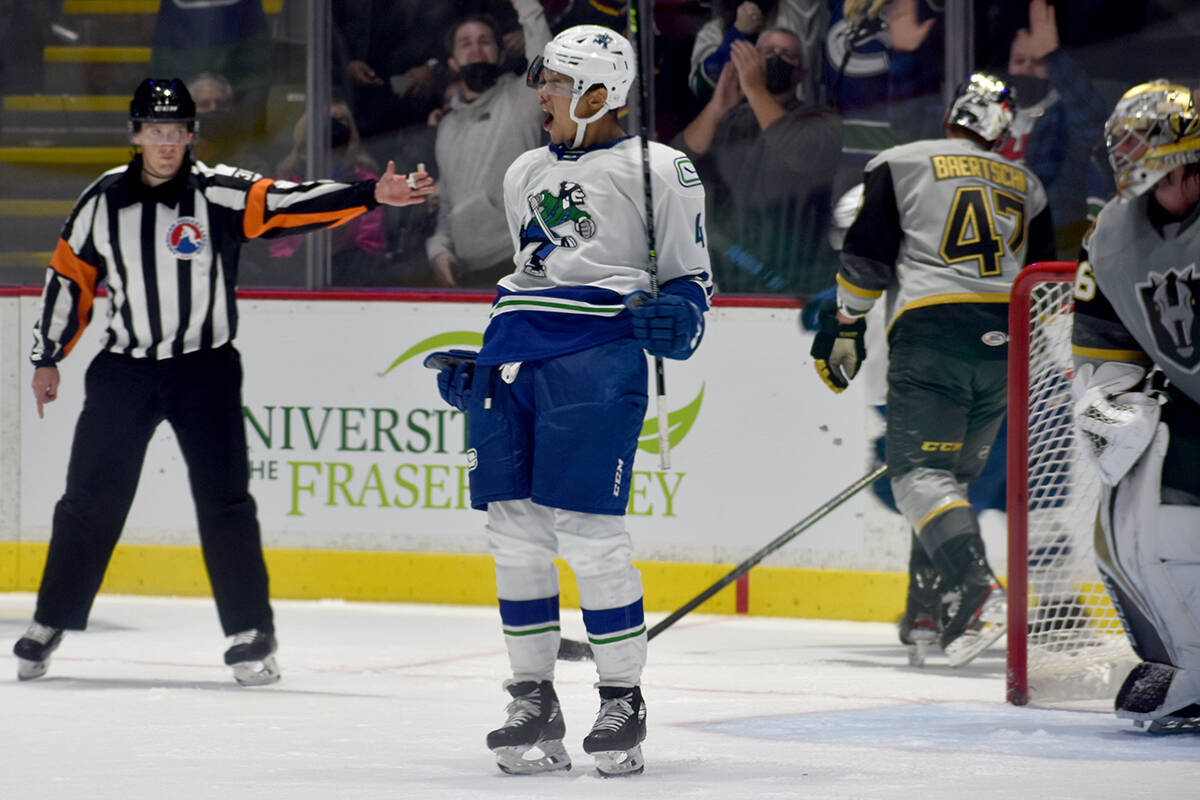 Abbotsford Canucks defenceman Madison Bowey celebrates after scoring the game winning goal for the Canucks to defeat the Henderson Silver Knights 3-2 at the Abbotsford Centre on Friday (Oct. 22). (Ben Lypka/Abbotsford News)
