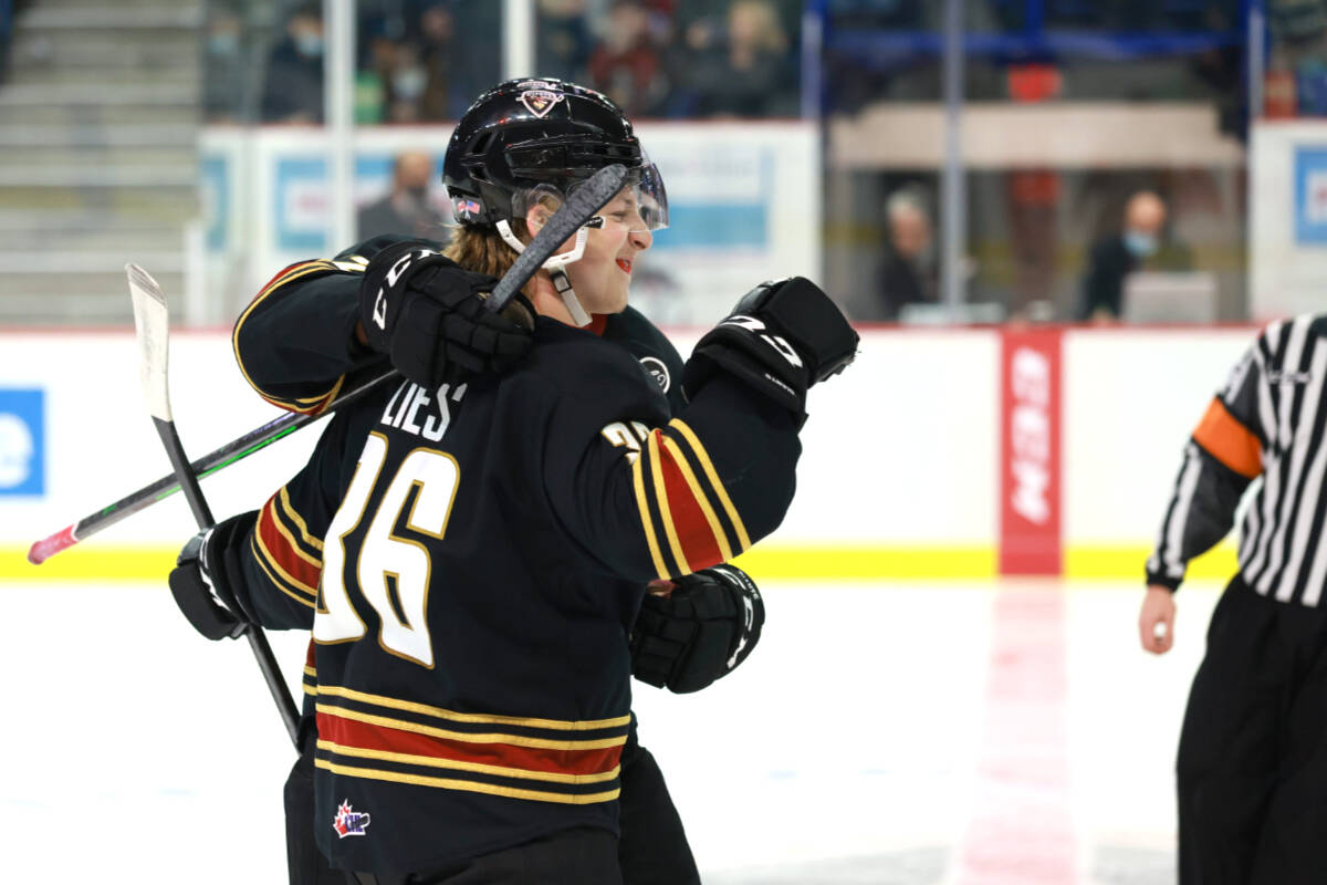 Justin Lies, a right-handed 6 ft. 1 in. forward hailing from Manitoba made one of the two goals for the Giants on Saturday night at LEC. (Rob Wilton/Special to Langley Advance Times)