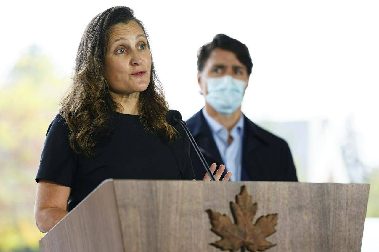 Minister of Finance and Deputy Prime Minister Chrystia Freeland joins Prime Minister Justin Trudeau during a press conference as they visit the Children's Hospital of Eastern Ontario in Ottawa on October 21, 2021. THE CANADIAN PRESS/Sean Kilpatrick