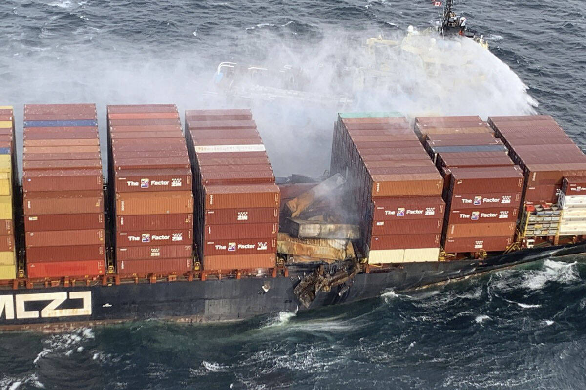 The fire on the container ship Zim Kingston anchored near Victoria has been stabilized as of Oct. 24. Five crew members remain onboard. (Courtesy Canadian Coast Guard)