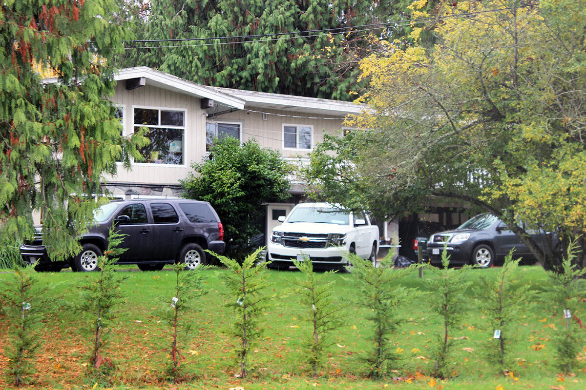 The house at 6848 Crofton Road where two people were found dead on the weekend remains an active crime scene. (Photo by Don Bodger)