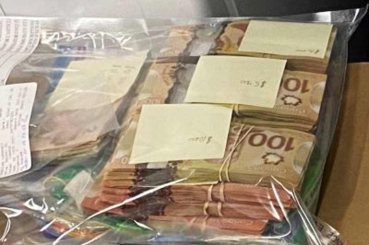 Almost $100,000 was discovered by Langley RCMP in a Sandman hotel room. (Langley RCMP)