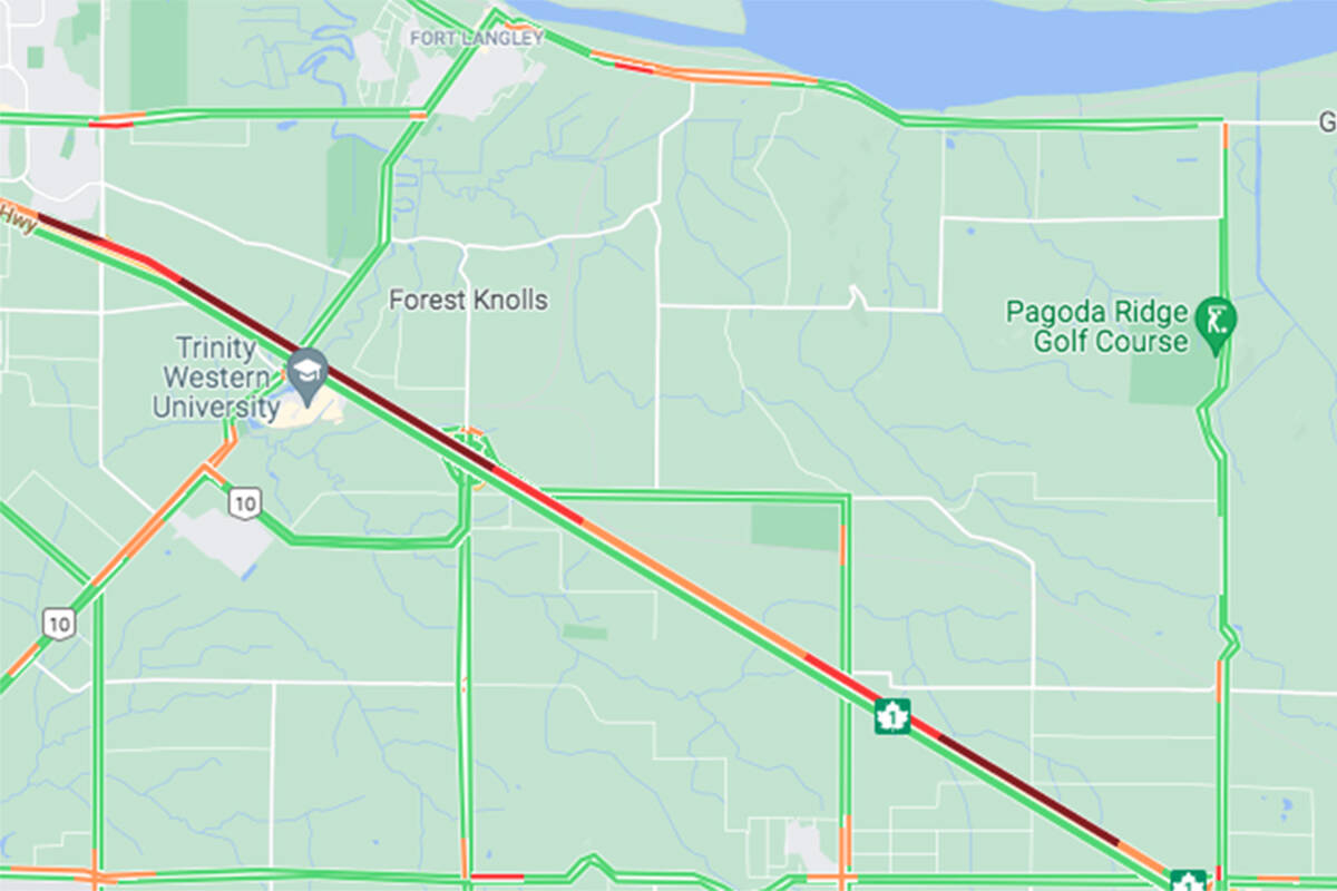 A vehicle incident westbound on Highway 1 at the 216th Street exit is causing traffic Thursday morning, Oct. 28, 2021. (Google photo)